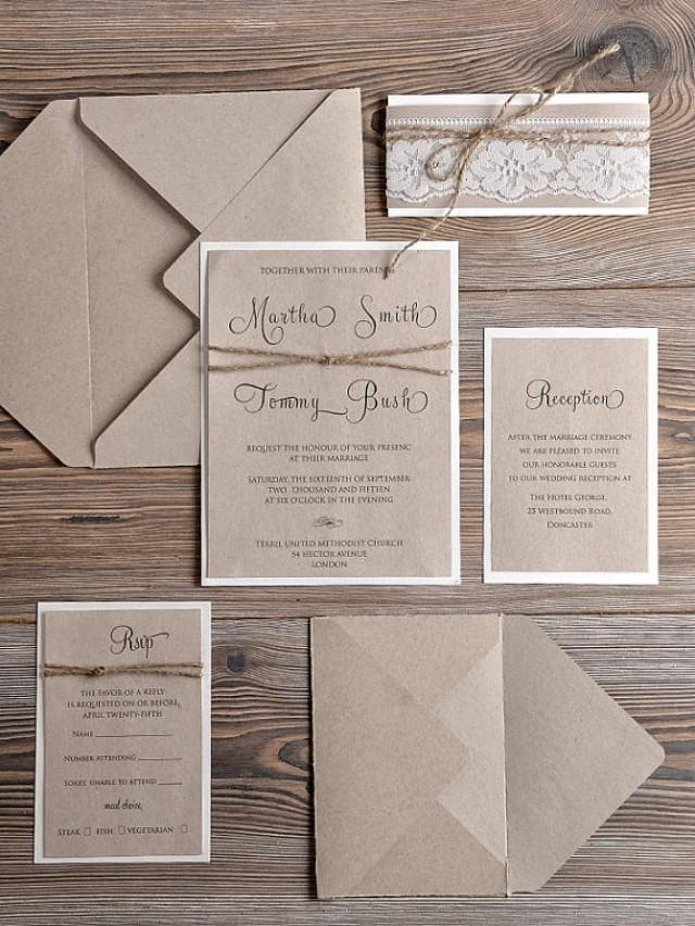 Rustic Wedding Invitations (20), Country Style Lace Wedding Invitations, Rustic  Wedding Invitation, Craft Wedding Invites, Lace Invites #2373407   Weddbook