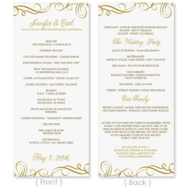 Wedding program template download instantly edit for Free wedding program templates word
