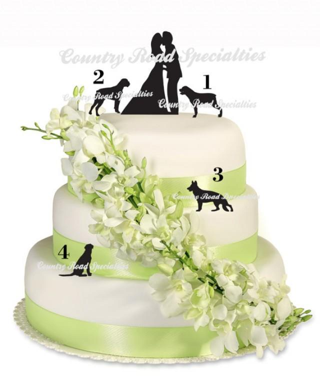 Silhouete Kissng Bride And Groom With Pets Wedding Cake Topper ...