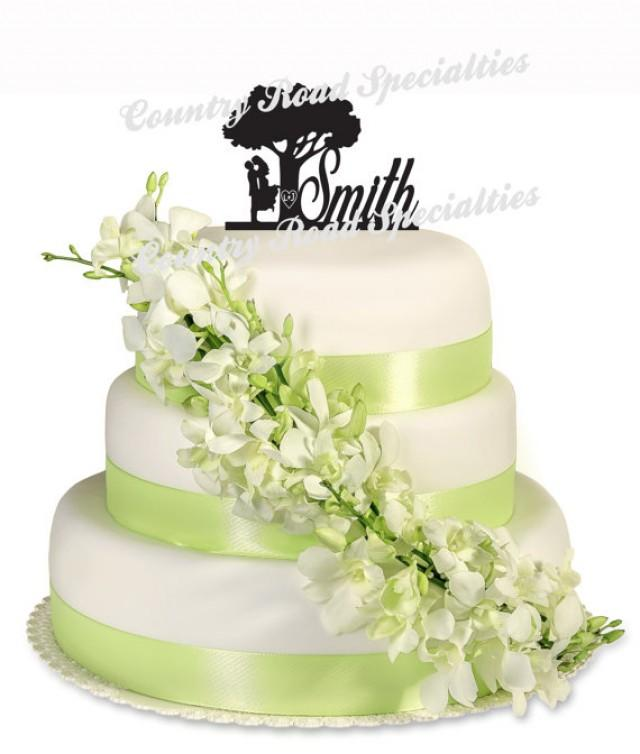 Kissng Couple Carved LettersTree Silhouette Surname Wedding Cake ...