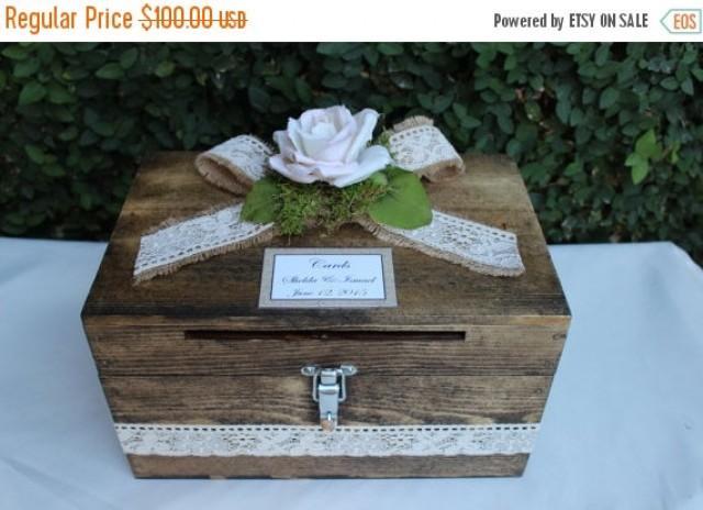 ON SALE Wedding Card Box Cardholder / Wooden Lockable Cardholder ...