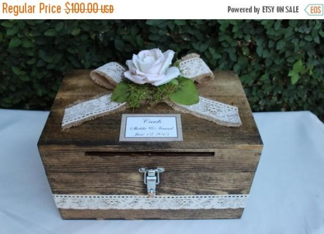 ON SALE Wedding Card Box Cardholder / Wooden Lockable Cardholder Box ...