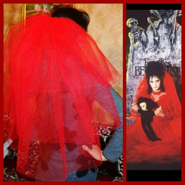Lydia Deetz Costume Veil Bachelorette Long Length Night 2374615 Weddbook