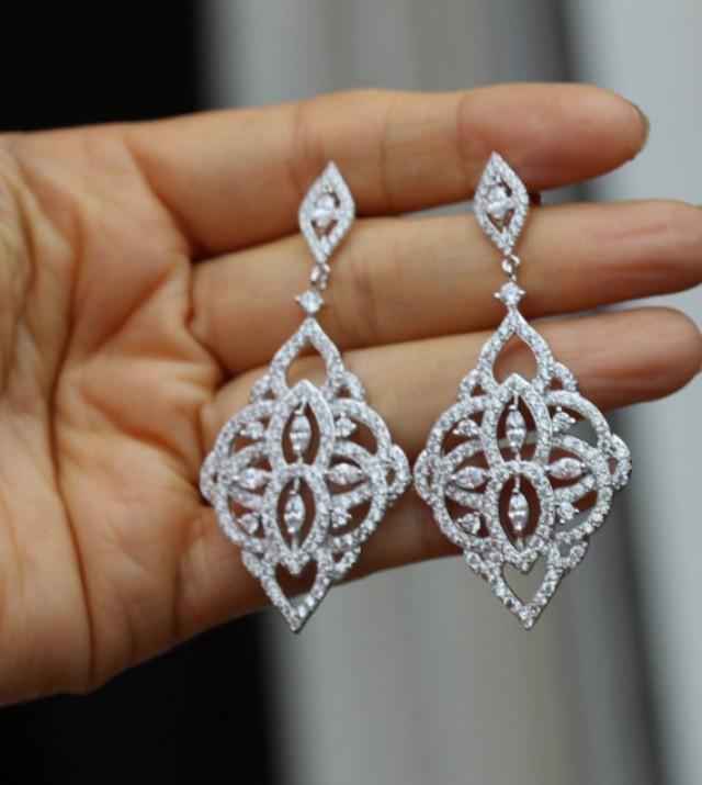 Silver Crystal Bridal Earring Bridal Jewelry Chandelier Earring ...