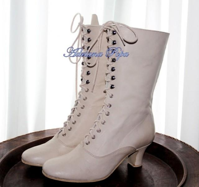 Off White Wedding Shoes Ivory Victorian Boots Bride Shoes