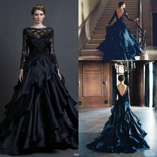 Gothic Black Wedding Dresses Plus Size Ball Gowns Puffy: Gorgeous Black Long Sleeve Wedding Dresses Gown 2015