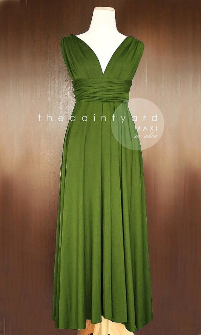 Maxi Olive Infinity Dress Bridesmaid Dress Convertible