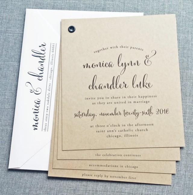 monica kraft booklet wedding invitation sample black calligraphy