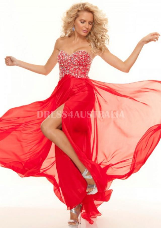 Buy Australia A Line Red Sweetheart Red Chiffon Evening Dress Prom