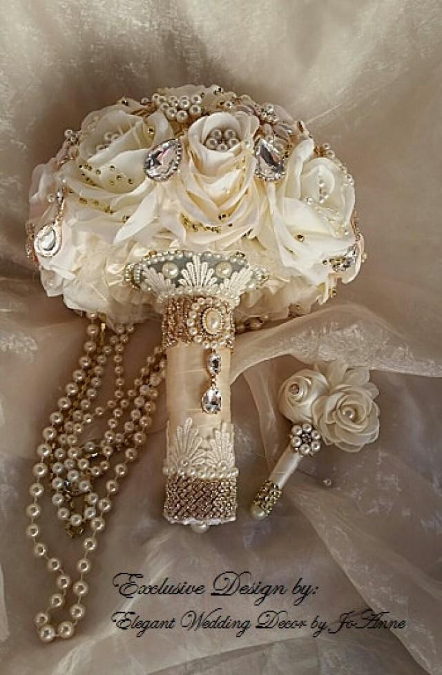Cascading Pearl Rose Gold Brooch Bouquet Custom