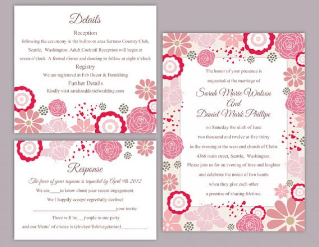 DIY Wedding Invitation Template Set Editable Word File Instant - Wedding invitation templates: editable wedding invitation templates