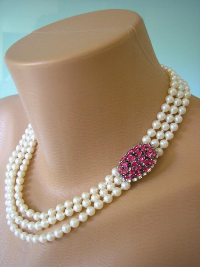 Ruby Choker Pearl Choker Pearl Necklace Mother Of The