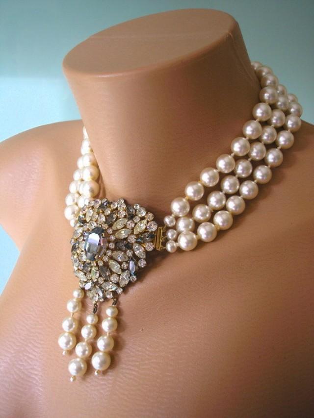 great gatsby jewelry statement necklace art deco jewelry