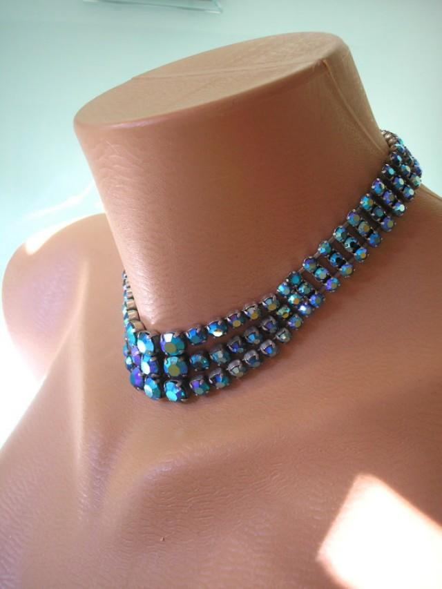 Peacock Blue Choker Aurora Borealis Blue And Green