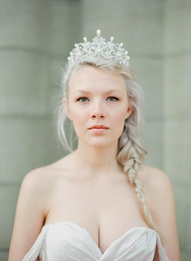 716dccf8a7b8 Full Bridal Crown with Pearls- ALEXANDRA Swarovski Crystal Wedding Crown