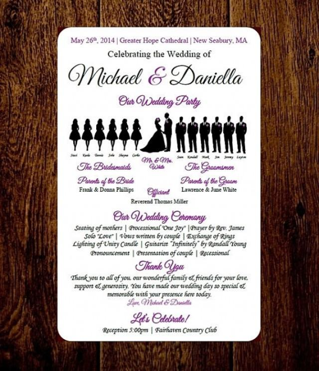 DIY Wedding Program Template - Choose Number Of Silhouettes