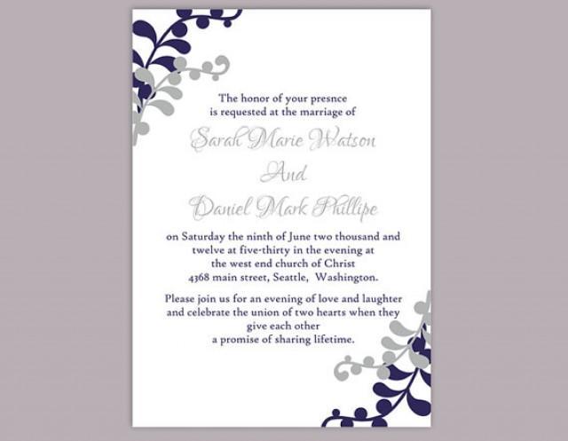 diy wedding invitation template editable word file instant download printable invitation silver