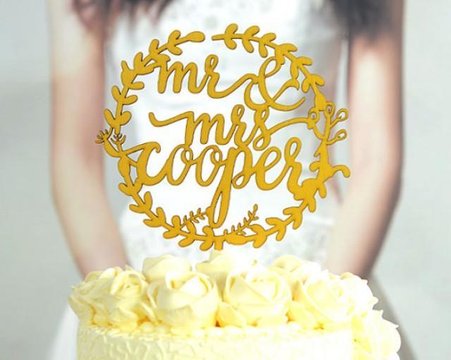 Wedding Cake Topper Monogram Mr And Mrs Cake Topper Design, Linden ...
