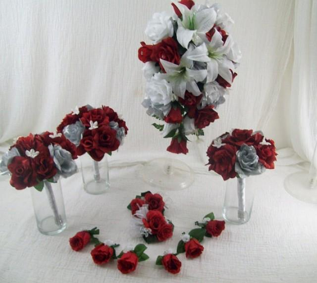 Red And White Flower Bouquet For Wedding - Flowers Healthy