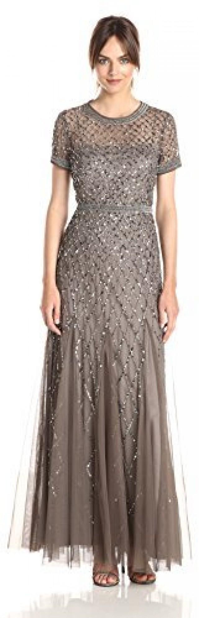 Adrianna Papell Women\'s Short-Sleeve Beaded Mesh Gown #2378467 ...
