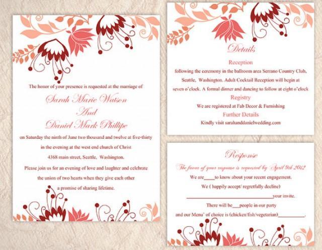 Wedding Invitation Samples Free Templates: DIY Wedding Invitation Template Set Editable Word File