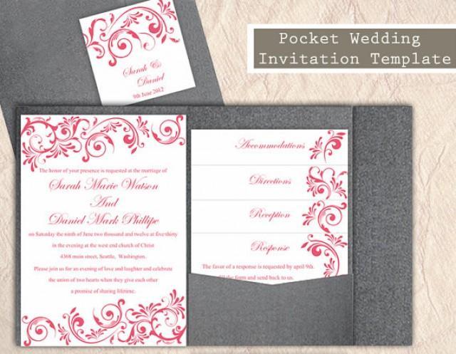 pocket wedding invitation template set diy download editable text word file pink wedding