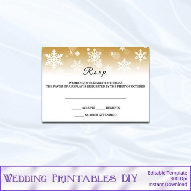 Diy Gold Snowflake Wedding Enclosure Card