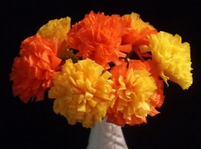 12 Marigolds Crepe Paper Flowers Day Of The Dead Dia De