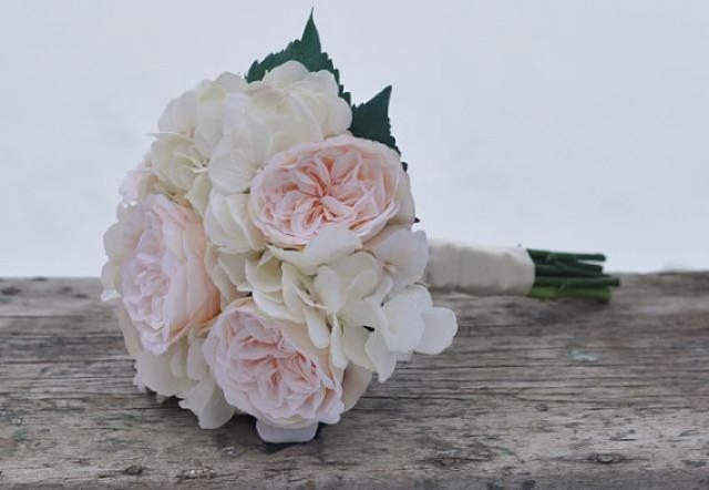 peach english garden rose with champagne ivory hydrangea bride wedding bouquet made with silk flowers hollys flower shoppe 2379844 weddbook