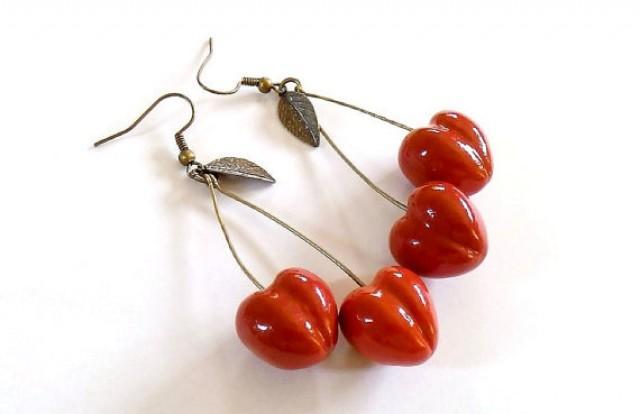 Cherry Earrings Red, Cherry Jewelry, Bright Jewelry