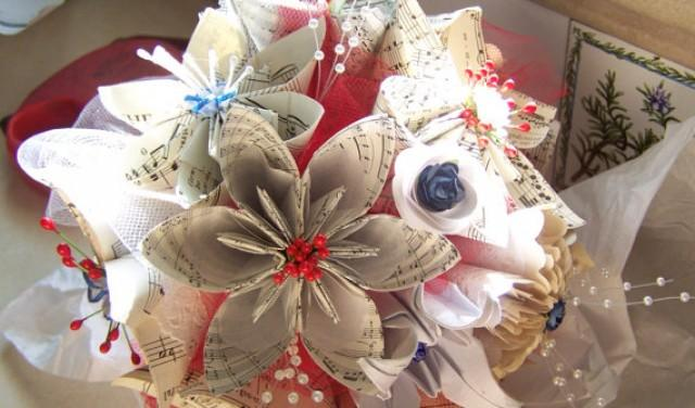 Wedding bouquet with military theme includes 8 sheet music origami wedding bouquet with military theme includes 8 sheet music origami flowers 2380147 weddbook mightylinksfo