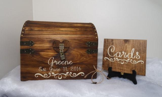 Card Gift Box Wedding: Rustic Wooden Wedding Card Chest With Card Slot