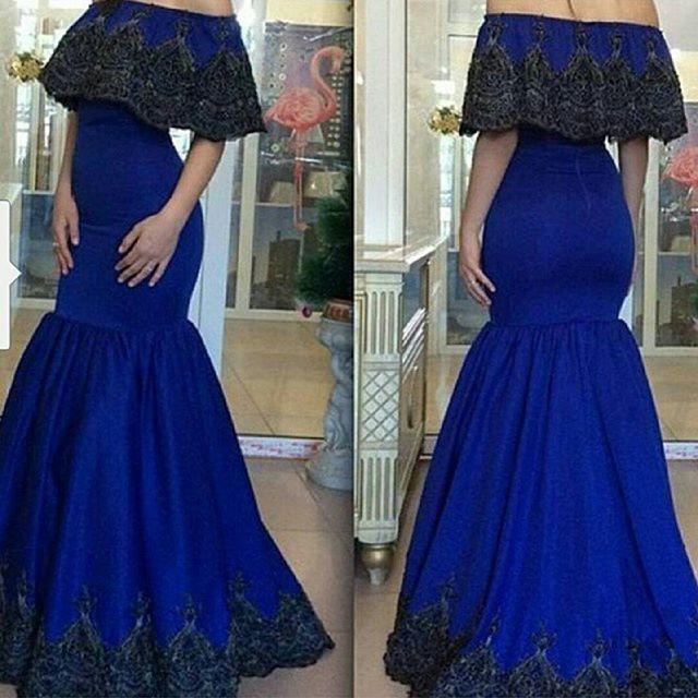 Modern Royal Blue Evening Dresses Gowns Off Shoulder 2015
