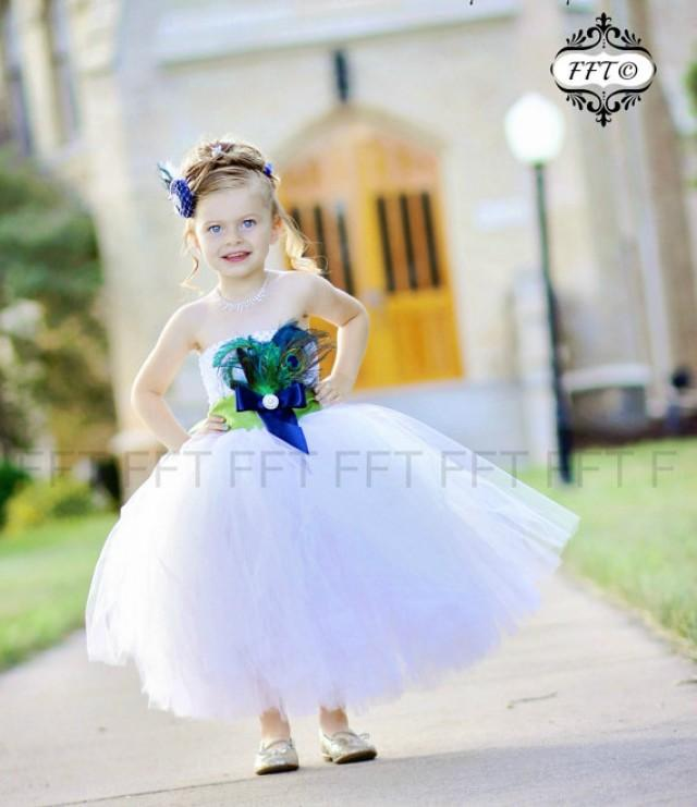 64b4a3eae Peacock Feather Flower Girl Tutu Dress - sash & feathers customizeable