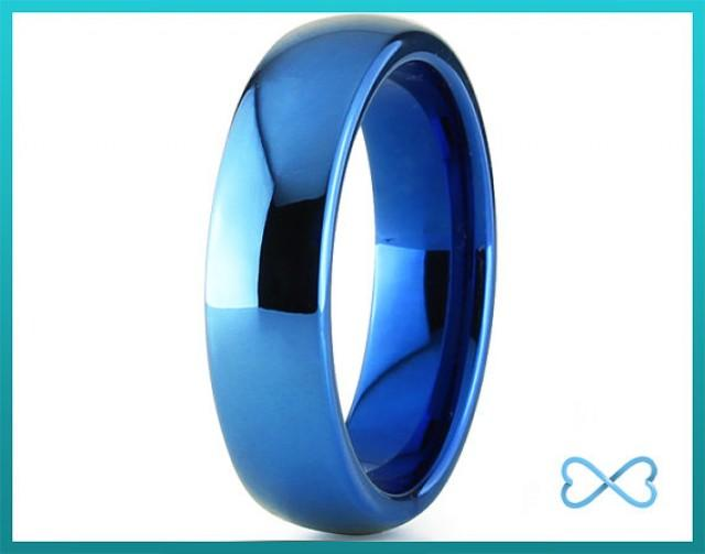 mens tungsten ring blue black tungsten rings blue