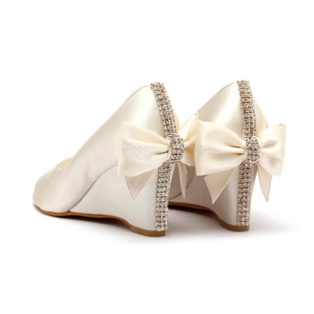 Ivory Rhinestone Wedding Shoes Ivory White Bridal Wedges