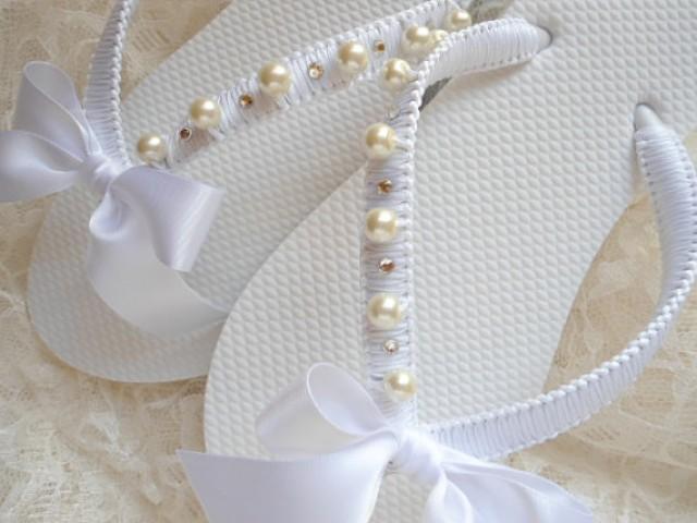 Beach Wedding Flip Flops, Bridal Flip Flops, Beach Flip Flop, Bridal ...