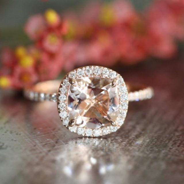 Halo Diamond Morganite Engagement Ring In 14k Rose Gold Pave Diamond