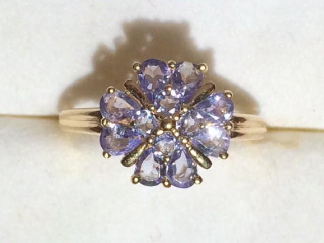 Vintage Tanzanite Cluster Ring Set In 14k Yellow Gold 12