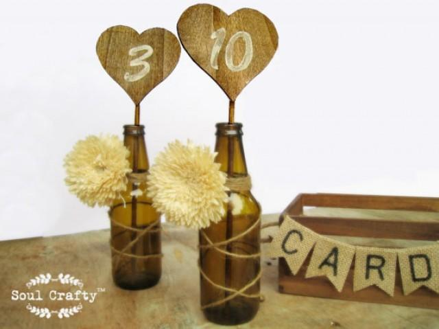 Rustic Heart Shaped Table Number For Rustic Woodland Wedding Party Event  #2383053   Weddbook
