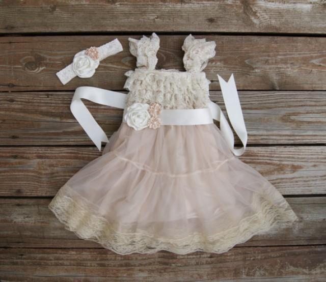 Flower Girl Dress. Champagne Lace Dress. Shabby Chic