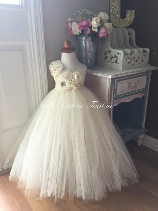 Ivory Flower Girl Tutu Dress Flower Girl Dress Ivory Wedding