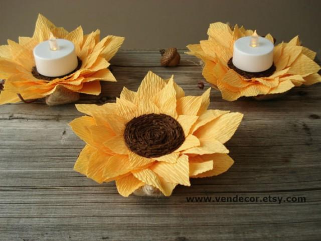Rustic Sunflowers Decoration Set Of 6 Autumn Wedding LED Centerpiece Sunflower Decorations Fall 2383739