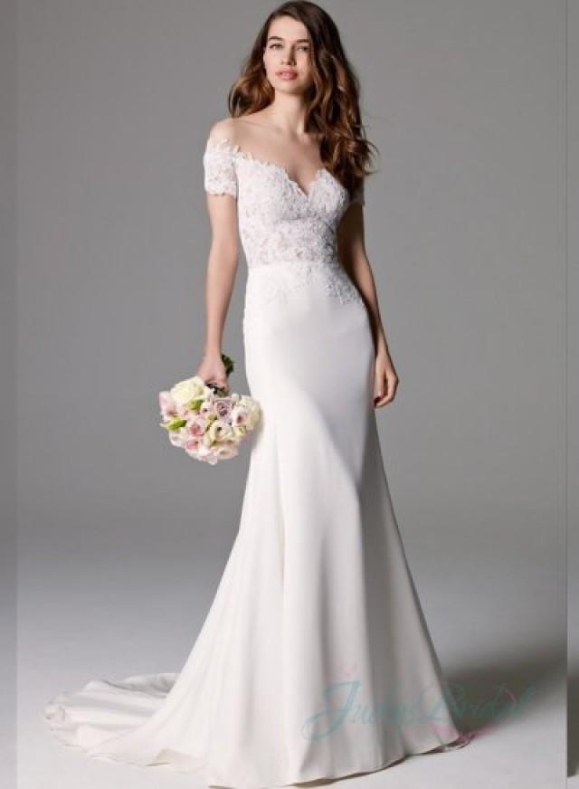 Sexy Sheer Tulle Top Illusion Lace Bodice Sheath Wedding Dress 2384084