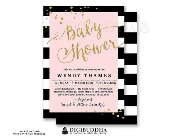 BLACK STRIPE & PINK Baby Shower Invitation Modern Blush Gold