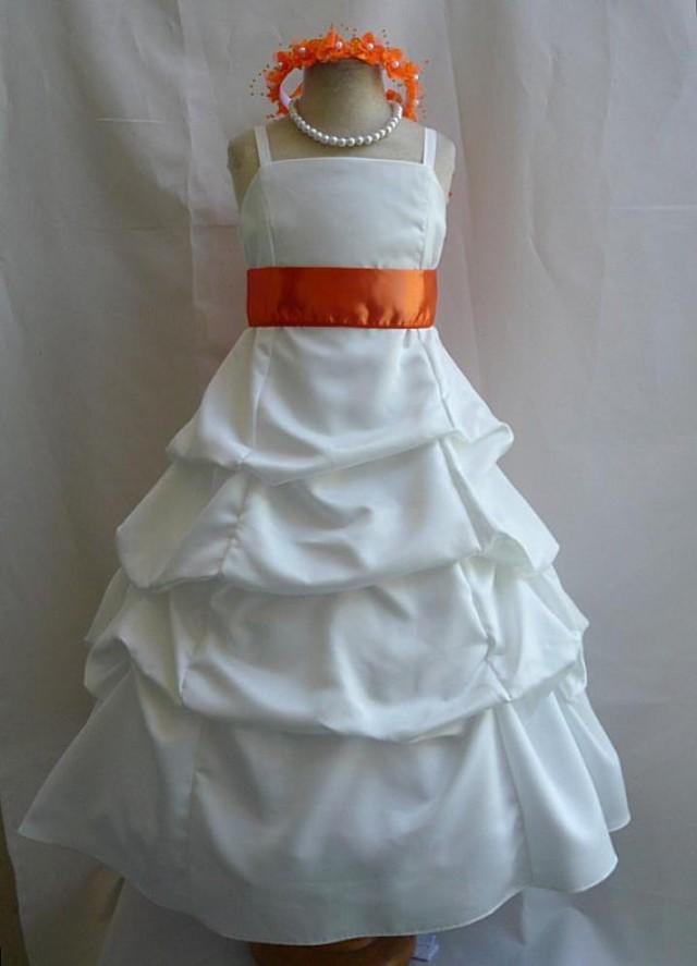Flower Girl Dresses Ivory With Orange Pick Up Dress Fd0spu Wedding Easter Bridesmaid For