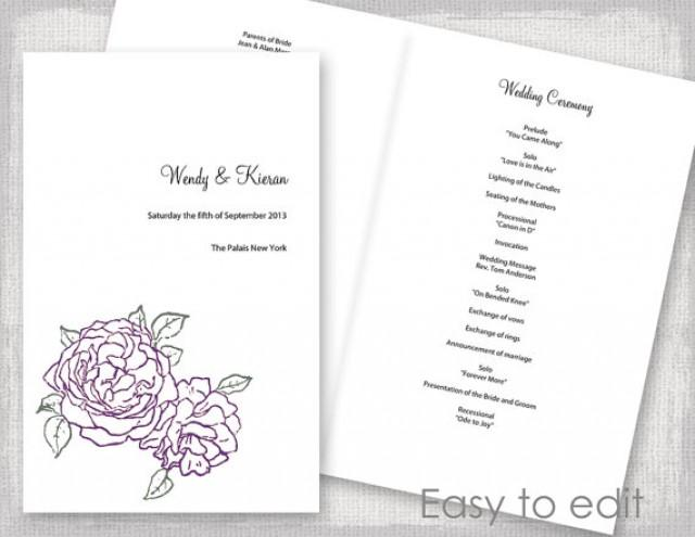 wedding program template amethyst purple and green peony rose diy