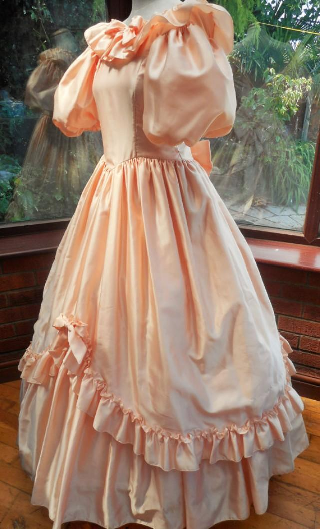 Vintage Bridesmaids Dress Peach Satin Polyester Shaped