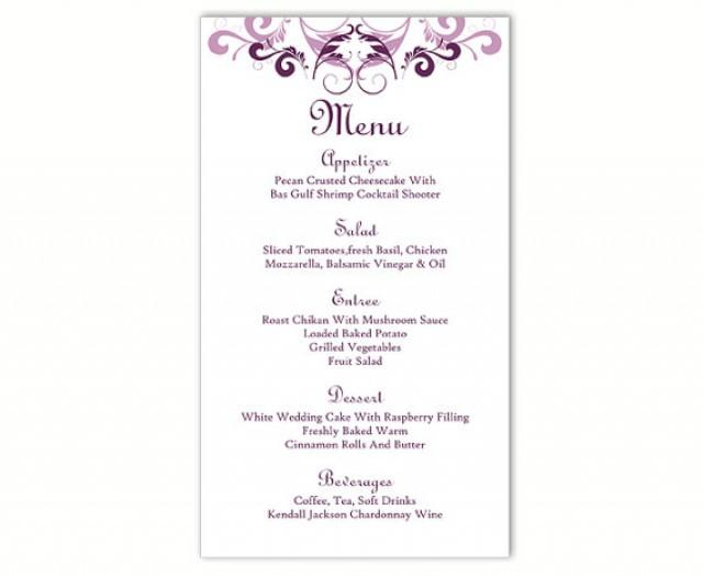 wedding menu template diy menu card template editable text word file instant download purple. Black Bedroom Furniture Sets. Home Design Ideas