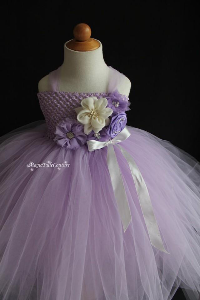 Violet and ivory flower girl dress light purple tutu dress for Purple and ivory wedding dress